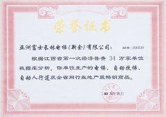 获得全省同行业地产最畅销商品荣誉证书