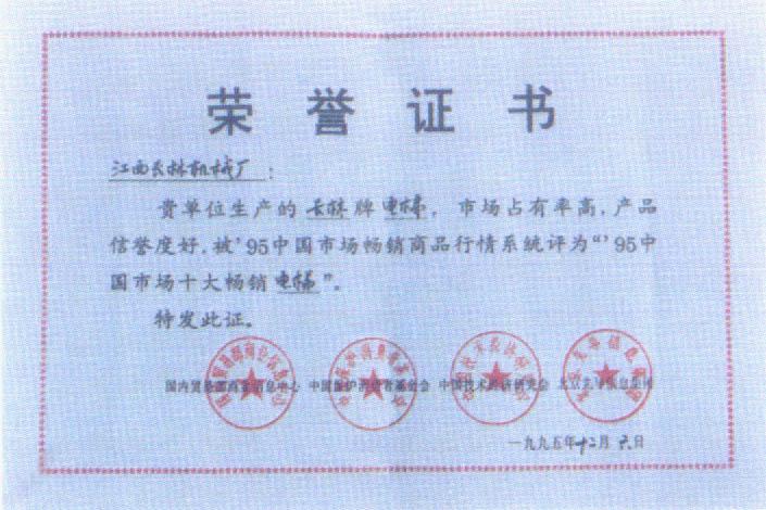 95年中国市场十大畅销电梯