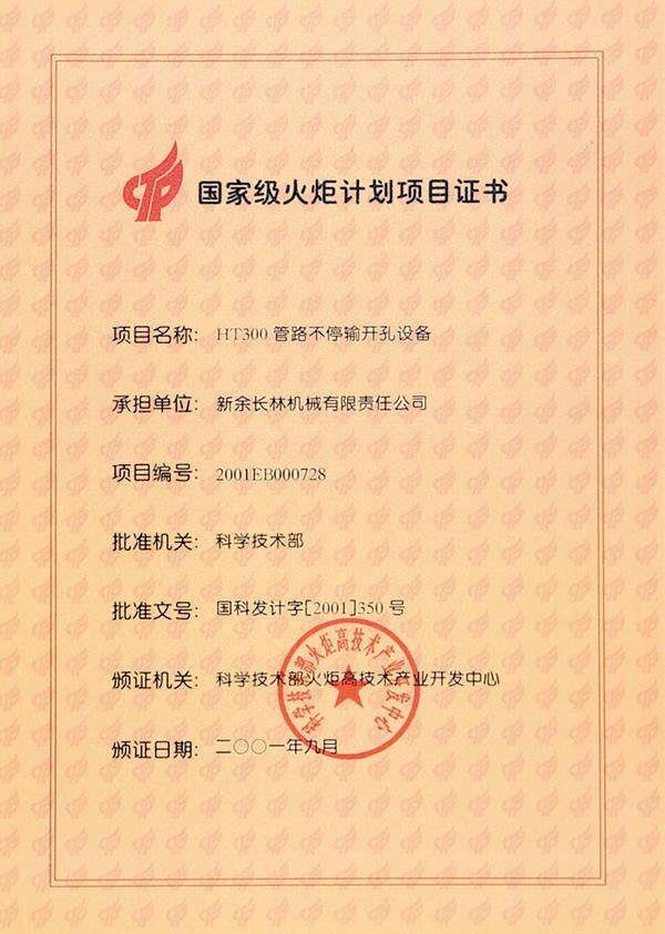 2001年火炬计划项目证书